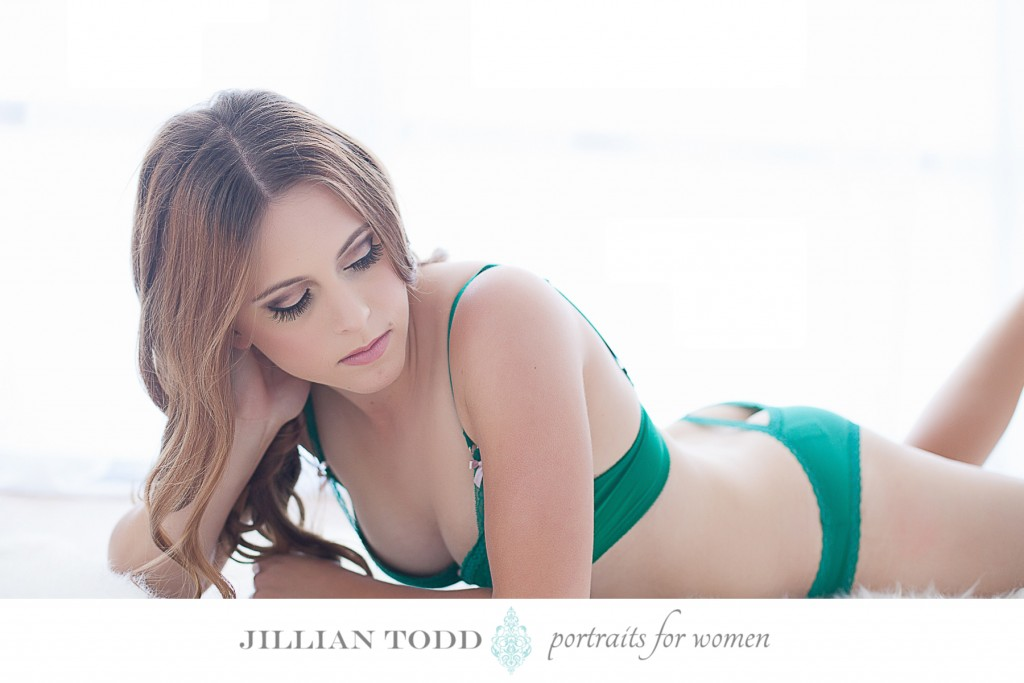 boudoir photography session green lingerie set