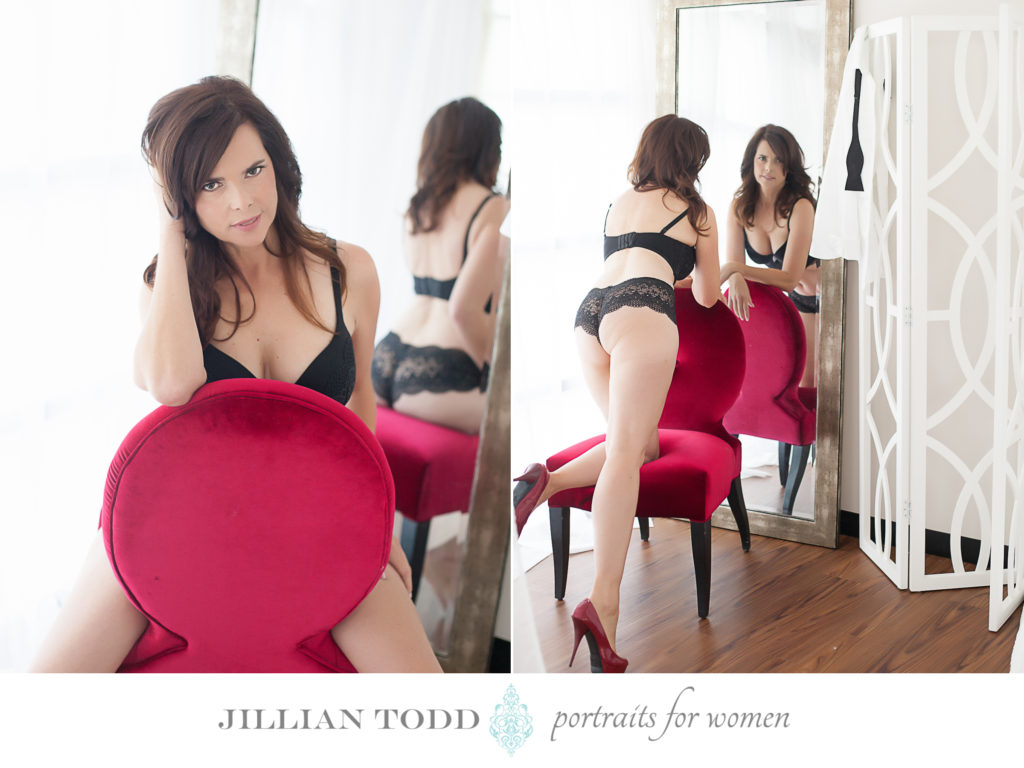 sacramento boudoir studio red chair