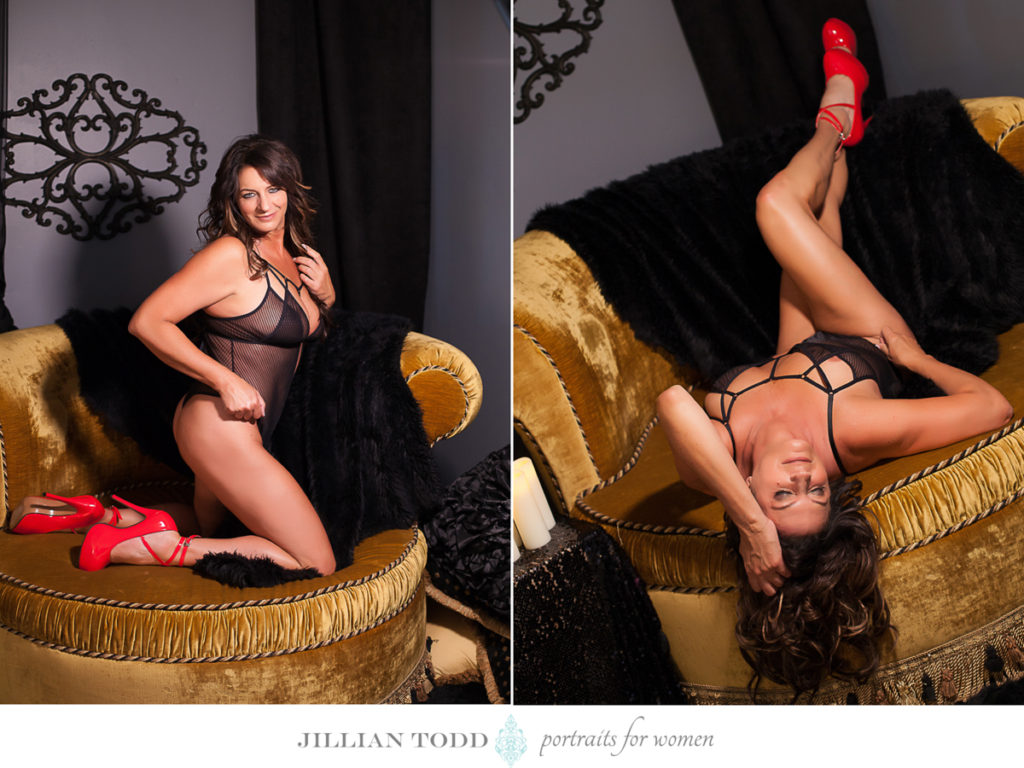 brunette woman in black bodysuit and red shoes by roseville boudoir photographer