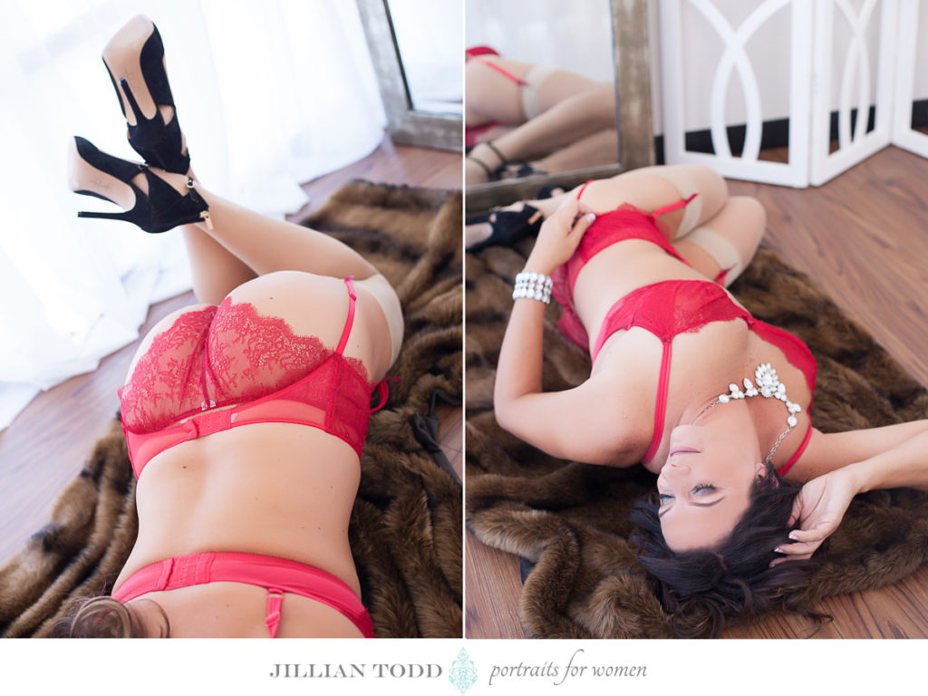 brunette woman on fur blanket and red lingerie by roseville boudoir photographer
