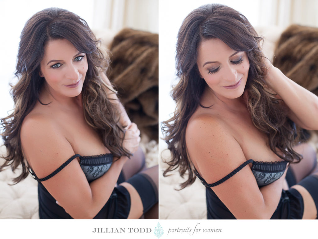 roseville boudoir photogapher studio portrait of brunette in black lingerie