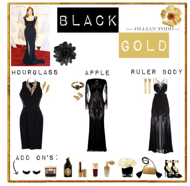black and gold dresses and accessories for glamour photo session