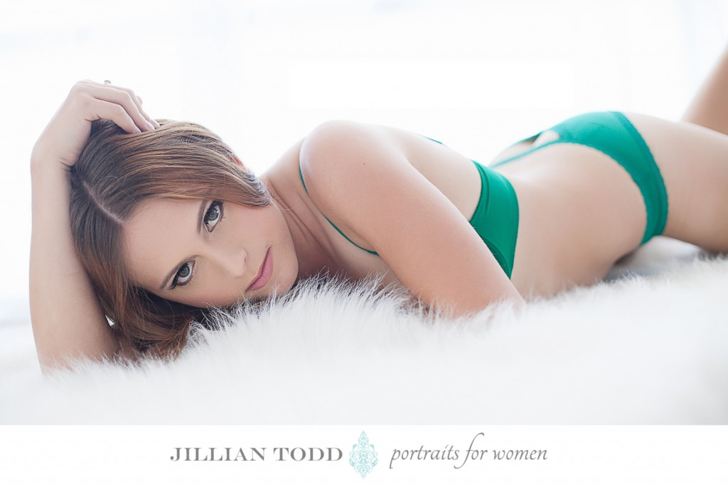 boudoir photography session green lingerie