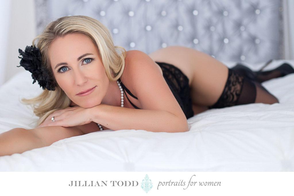 sacramento-boudoir-photography-blonde-bed-black-bodysuit