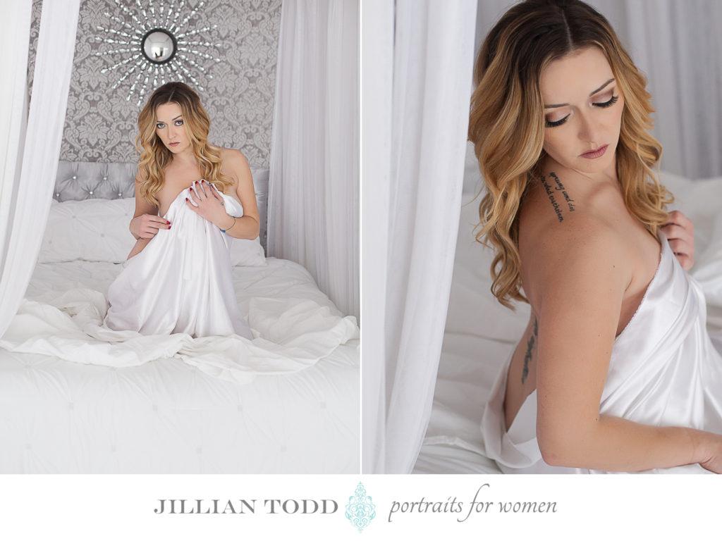 folsom boudoir photography white sheet on bed