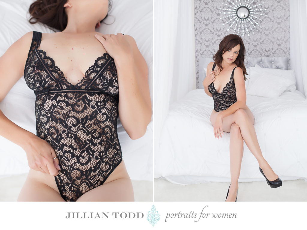 sacramento boudoir studio black lace bodysuit on white bed